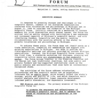 Go to Michigan Nonprofit Forum 1990-09-26 steering committee mission and members, includes executive summary item page