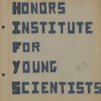 Title page of Honors Institute for Young Scientists scrapbook