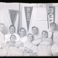 Go to Michigan. D. J. Angus, Smith, Bone, Barnes and Herst in the dorm at MAC item page