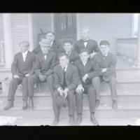 Go to Michigan. D. J. Angus and others at dorm in Michigan Agricultural College item page