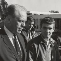 Go to Congressman Gerald Ford touring campus with students item page
