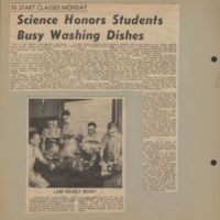 Science honors students busy washing dishes