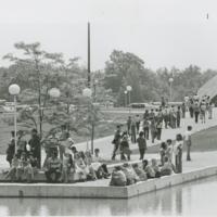 Go to Zumberge Pond. Student crowd near Zumberge Pond item page