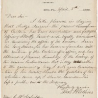 Go to Nathan Sargent petition and letter of recommendation for Commissioner of Customs, April 3, 1869 item page