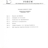 Go to Michigan Nonprofit Forum 1990-09-26 steering committee table of contents item page