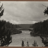 Go to Wyoming. Bridge over Yellowstone River above the falls item page