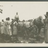 Go to Women gathered around a horse drawn wagon item page