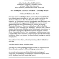 Go to Citation & Response On Receiving the First Sylvia Kaufman Interfaith Leadership Award item page