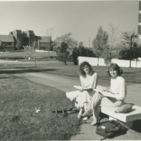 Go to Zumberge Library. Two female students sitting outside item page